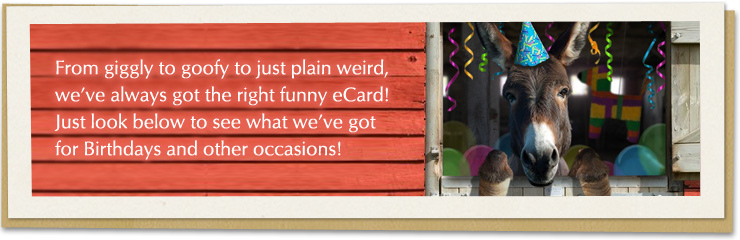From giggly to goofy to just plain weird, we've always got the right funny ecard! Just look below to see what we've got for birthdays and other occasions!