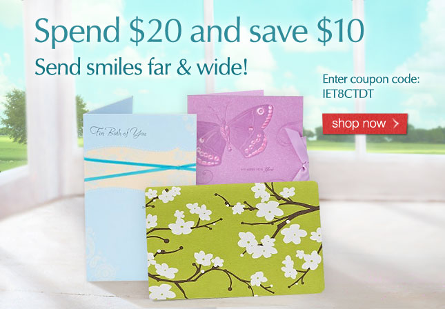 Send smiles far & wide! Spend 20 and save 10. Enter coupon code: IET8CTDT