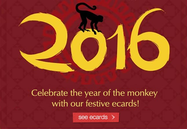 Celebrate the year of the monkey with our festive ecards. See ecards