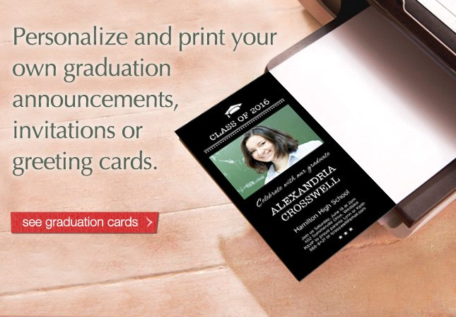 Personalize and print your own graduation announcements, invitations or greeting cards. See graduation cards