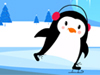 Ice-skating Penguin  -- Free Cute December Nature, Screensavers from American Greetings
