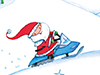 Snowmobile Santa  -- Free Cute December, Desktop Wallpapers from American Greetings