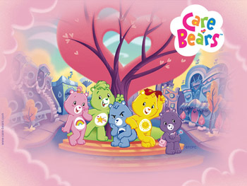Five Care Bears gather around