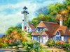 Lighthouse Cottage  -- Free Beach, Nature Desktop Wallpapers from American Greetings