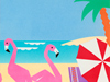 Flamingo Beach  -- Free Traditional Animal, Desktop Wallpapers from American Greetings