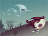 Ghostly Escape  -- Free Trendy Halloween,Trendy  Holiday Desktop Wallpapers from American Greetings