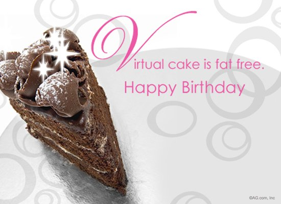 fat free virtual cake postcard  happy birthday ecard  american, Birthday card