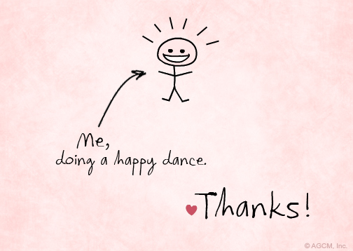 Happy dance reply card quot thank you postcard blue mountain ecards