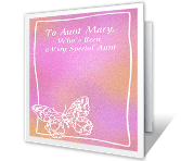 Very Special Aunt happy birthday printable cards