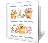 Happy Happy Happy... happy birthday printable cards
