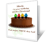 Twice the Fun holiday birthday printable cards