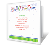 Believe christmas printable cards
