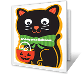 Cuddly-Cute Cat printable halloween card
