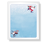 Skating Santa christmas printable cards