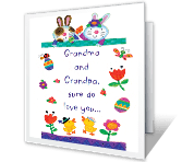 Love You, Grandparents easter printable cards