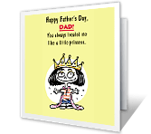 Dad's Little Princess printable fathers day card