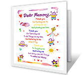 Dear Mommy... mothers day printable cards
