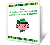 Leprechaun Lessons st. patricks day printable cards