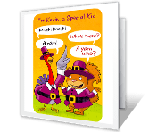 A Knock Knock Wish printable thanksgiving card