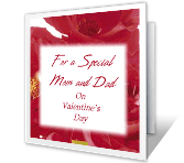 Special Mom and Dad valentines day printable cards