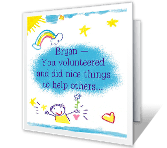 Caring Kid saying thanks printable cards
