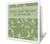 For an Admired Coach saying thanks printable cards