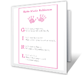 What Is a Baby Girl? congratulations on baby printable cards