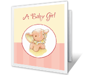 Sweet Baby Girl congratulations on baby printable cards