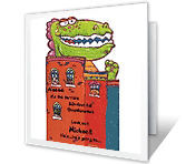 Dino-monster happy birthday printable cards