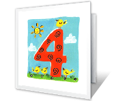 4th Birthday milestone birthday printable cards