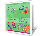 Stages of Life happy birthday printable cards