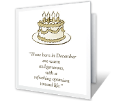 December Birthday holiday birthday printable cards