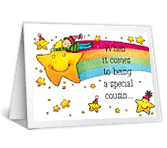 Star Cousin happy birthday printable cards
