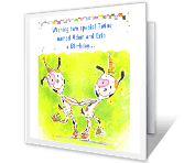 Special Twins happy birthday printable cards