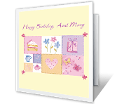 A Wonderful Aunt happy birthday printable cards