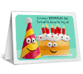Mr. Cake and Mr. Party Hat happy birthday printable cards