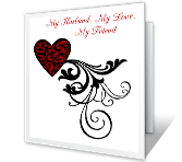 My Husband, My Love, My Friend printable valentine card
