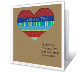 Special Dad printable fathers day card