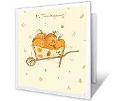 Pumpkin Cart thanksgiving printable cards