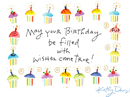 Cupcake Wishes<br>Postcard<br>Kathy Davis Birthday Postcards