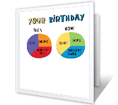 Then vs. Now over the hill birthday printable cards