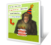 Happy Birthday Printable Cards - Smiling Monkey
