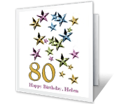 80th Birthday printable card