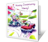 Anniversary on the Run greeting card