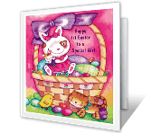 Baby Girl's 1st Easter greeting card