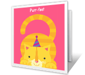 Birthday Purr-fection printable card
