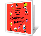 Birthday Question printable card