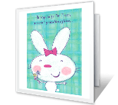 Bunny Hugs for Granddaughter greeting card