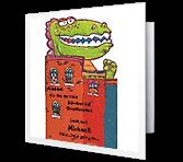 Dino-monster greeting card
