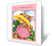 For a Darling Girl Activity Card printable card